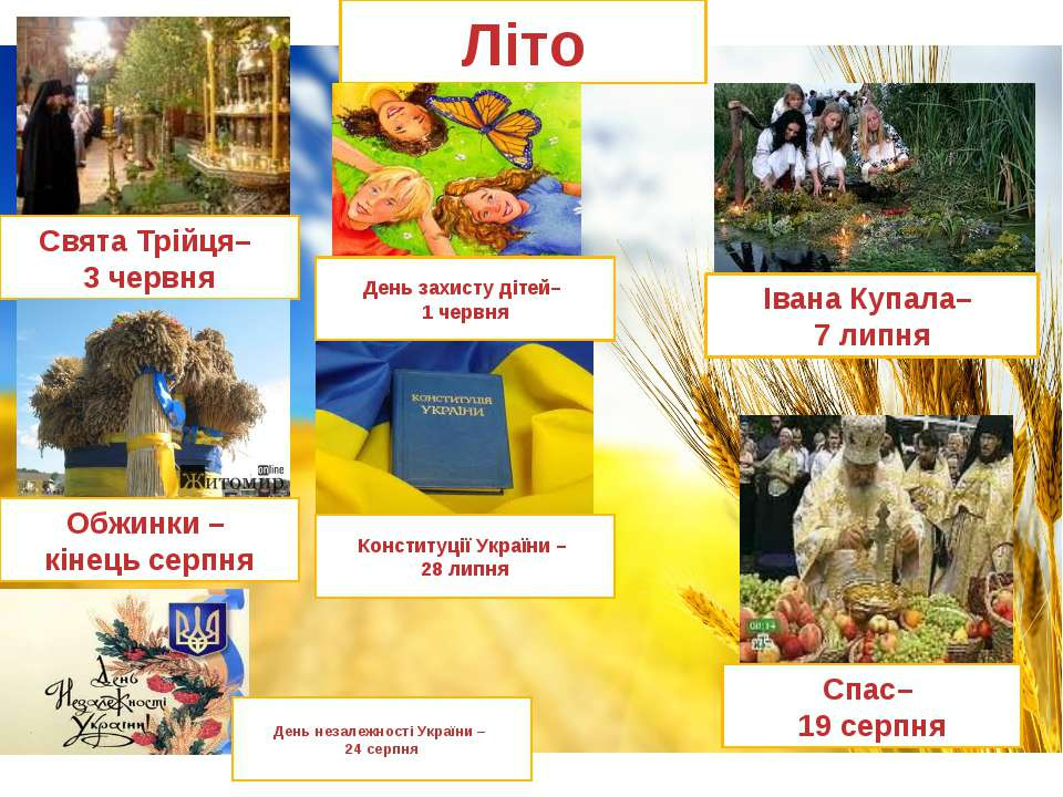 Літо Івана Купала– 7 липня Свята Трійця– 3 червня День захисту дітей– 1 червн...