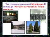 Тут створено унікальний Музей води. В селищі діє «Чугуєво-Бабчанський лісний ...