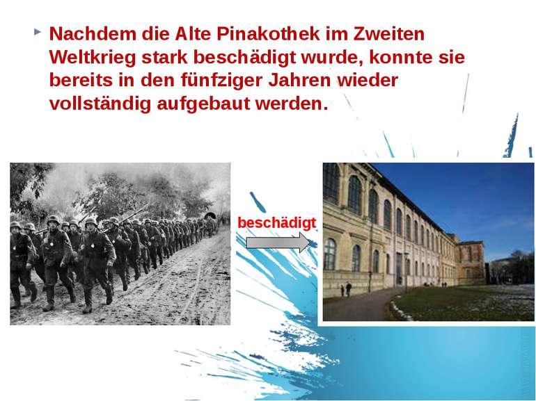 Nachdem die Alte Pinakothek im Zweiten Weltkrieg stark beschädigt wurde, konn...