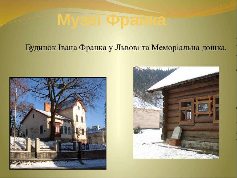 Музеї Франка Будинок Івана Франка у Львові та Меморіальна дошка.