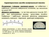 Характеристики засобів вимірювальної техніки Початкове і кінцеве значення шка...