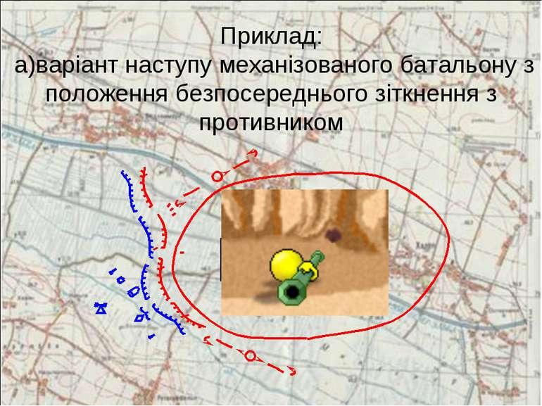 Приклад: а)варіант наступу механізованого батальону з положення безпосередньо...