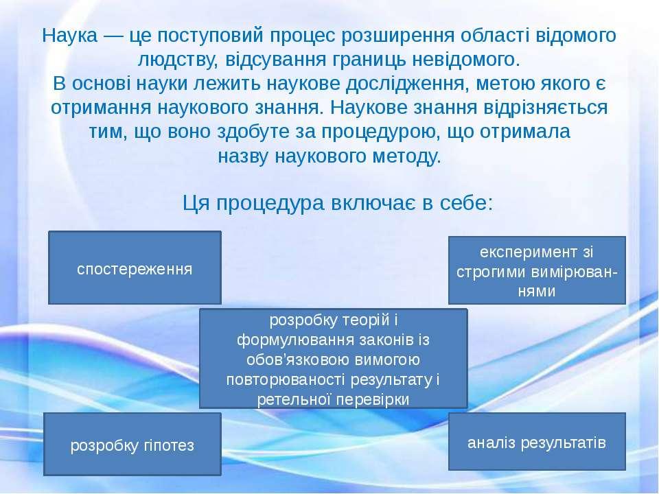 Наука— це поступовий процес розширення області відомого людству, відсування ...