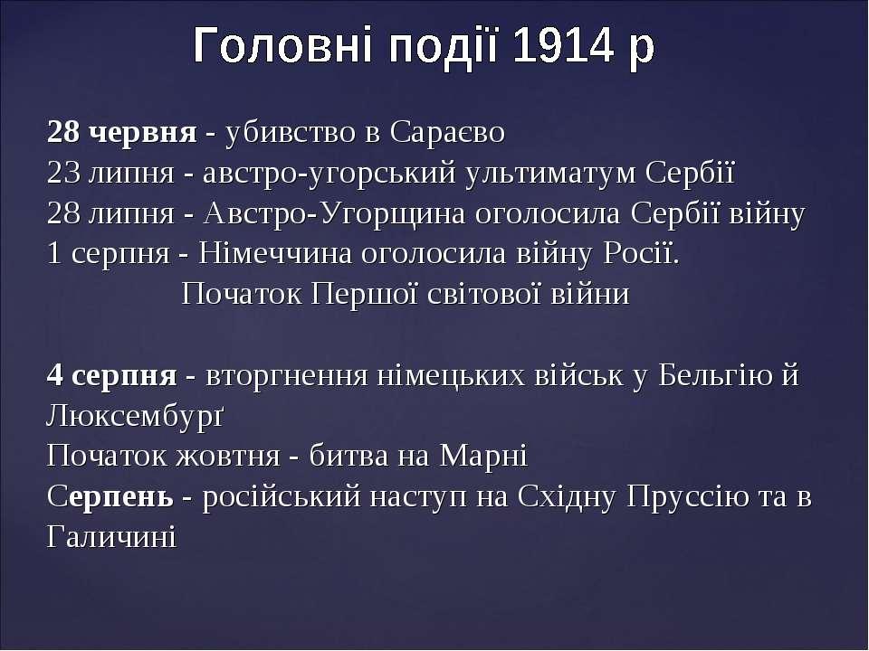 28 червня - убивство в Сараєво 23 липня - австро-угорський ультиматум Сербії ...