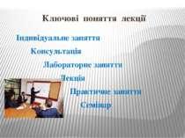 Ключові поняття лекції Індивідуальне заняття Консультація Лабораторне заняття...