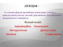 ЛЕКЦІЯ - це основна форма проведення навчальних занять у вищому навчальному з...