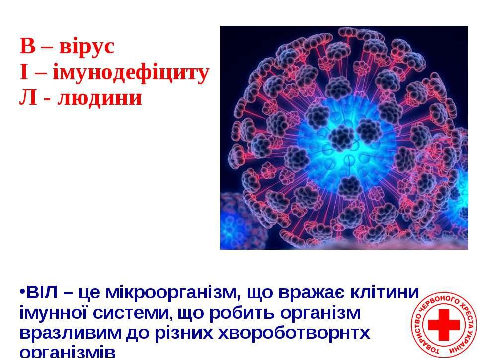 ВІЛ – це мікроорганізм, що вражає клітини імунної системи, що робить організм...