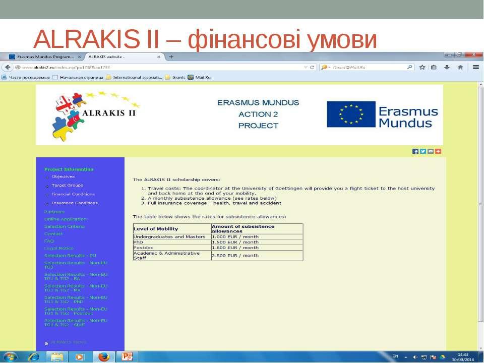 ALRAKIS II – фінансові умови