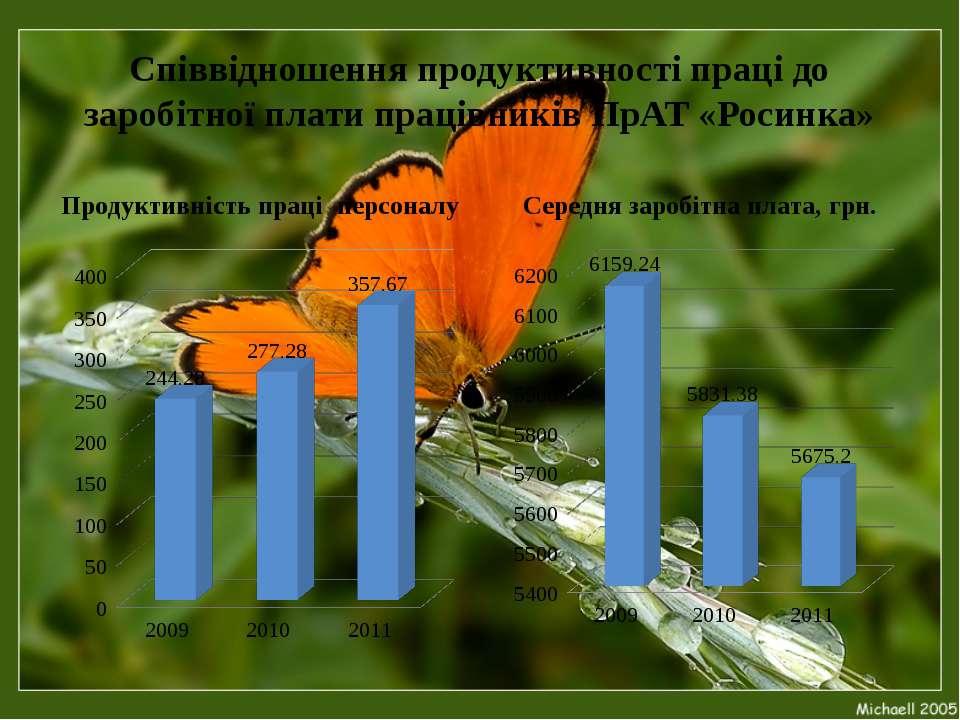 Співвідношення продуктивності праці до заробітної плати працівників ПрАТ «Рос...