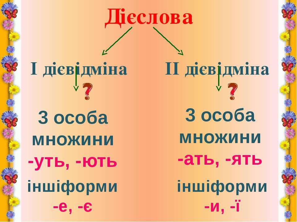 Дієслова І дієвідміна ІІ дієвідміна 3 особа множини -уть, -ють 3 особа множин...