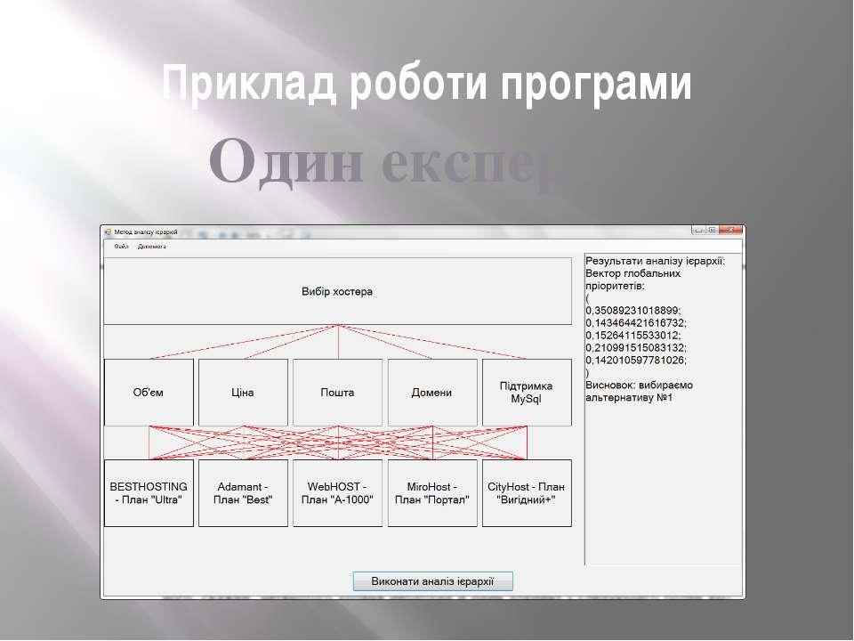Приклад роботи програми Один експерт