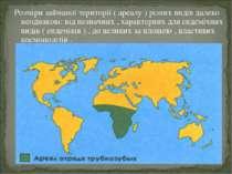 Розміри займаної території ( ареалу ) різних видів далеко неоднакові: від нез...