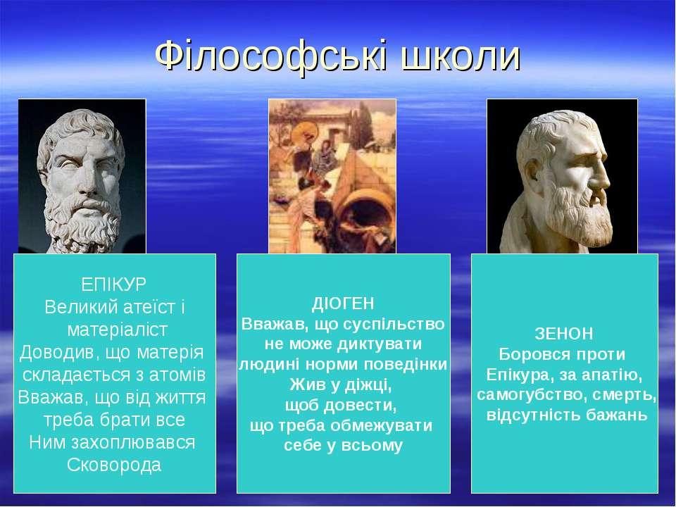 Філософські школи ЕПІКУР Великий атеїст і матеріаліст Доводив, що матерія скл...