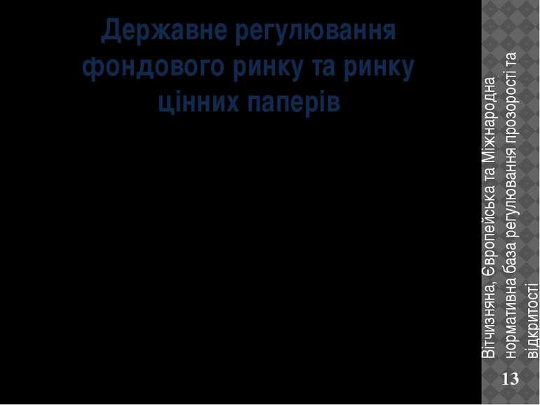 Державне регулювання фондового ринку та ринку цінних паперів Вітчизняна, Євро...