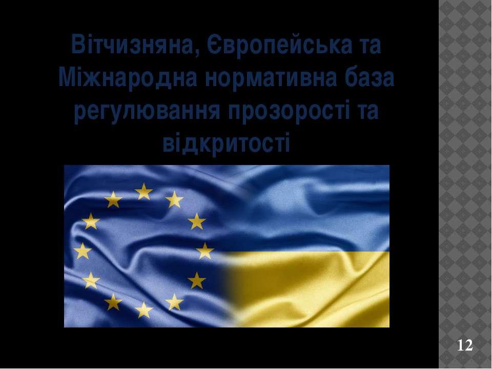 Вітчизняна, Європейська та Міжнародна нормативна база регулювання прозорості ...