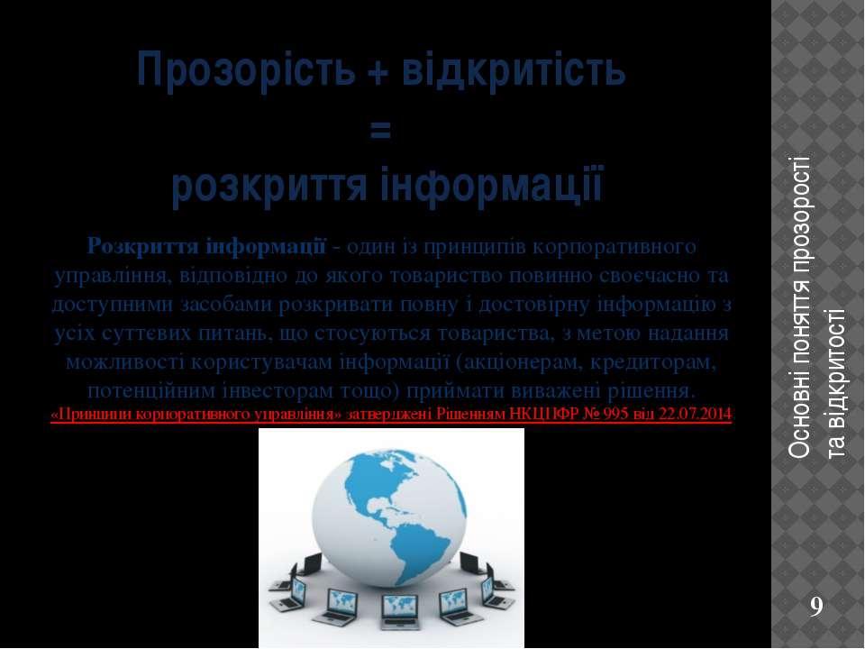 Прозорість + відкритість = розкриття інформації Розкриття інформації - один і...