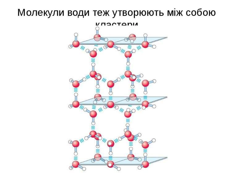 Молекули води теж утворюють між собою кластери