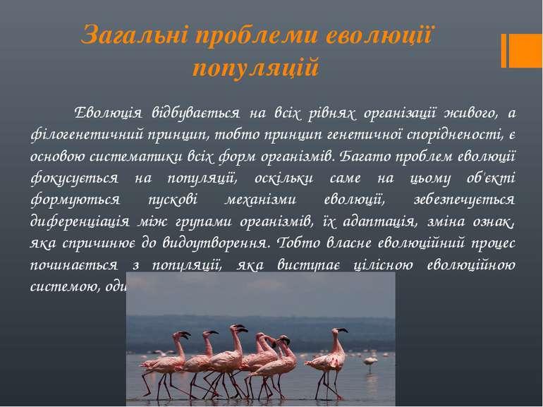 Загальні проблеми еволюції популяцій Еволюція відбувається на всіх рівнях орг...