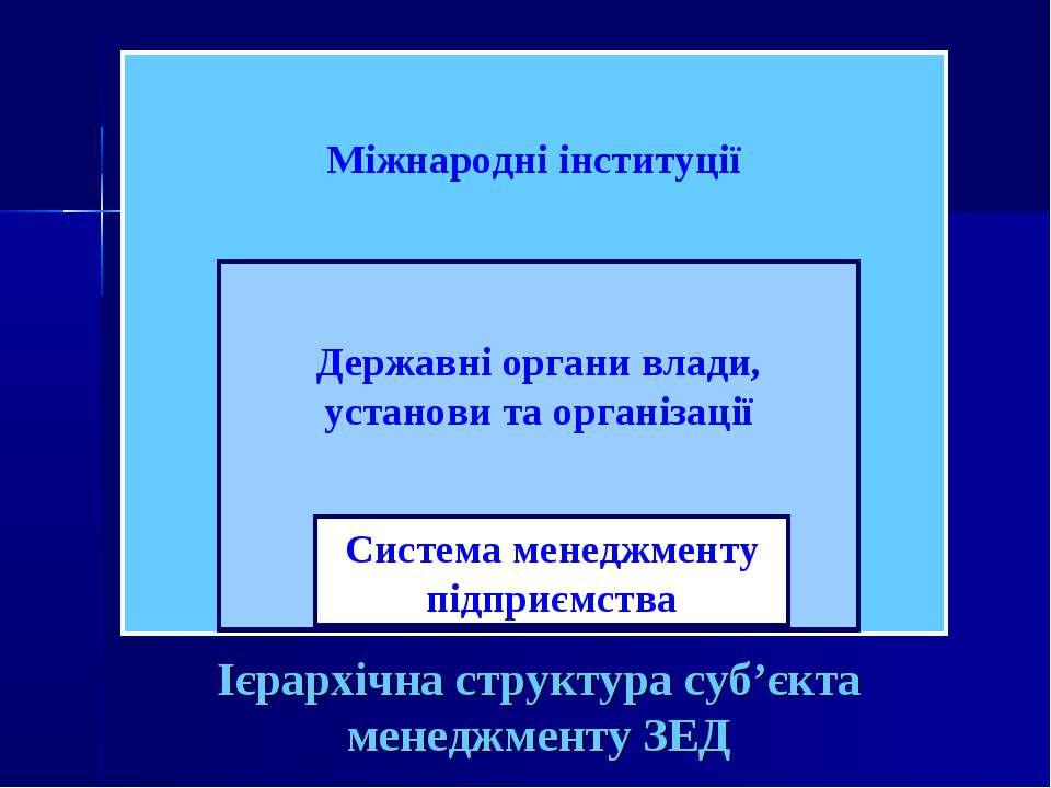 Ієрархічна структура суб'єкта менеджменту ЗЕД Міжнародні інституції Державні ...