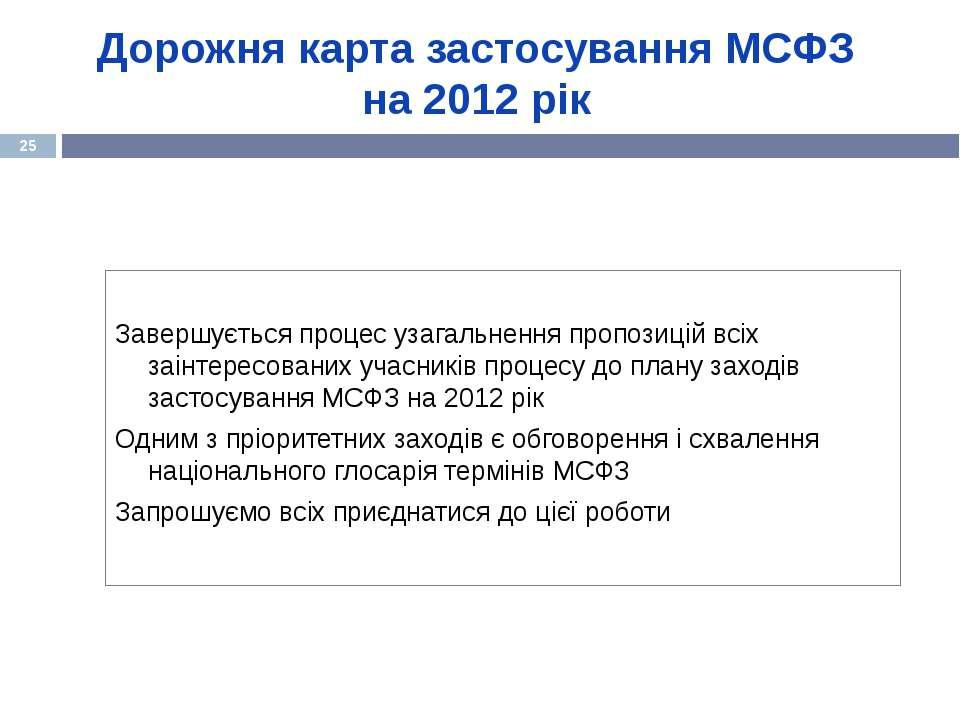 Дорожня карта застосування МСФЗ на 2012 рік Завершується процес узагальнення ...