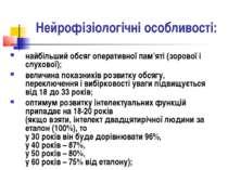 Нейрофізіологічні особливості: найбільший обсяг оперативної пам'яті (зорової ...