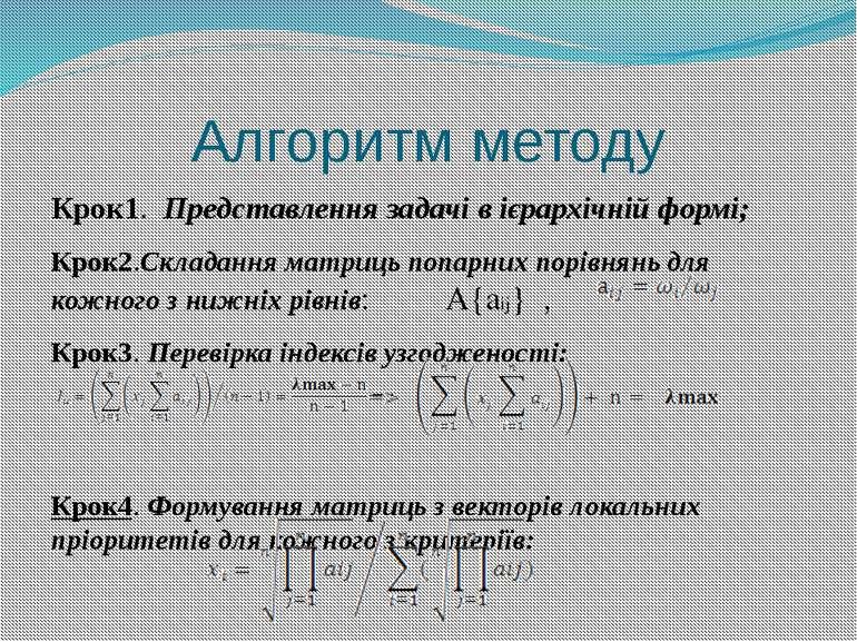 Алгоритм методу Крок1. Представлення задачі в ієрархічній формі; Крок2.Склада...