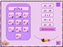 рідна 0 4 7 8 9 1 2 3 5 6 р ж і а д б ю н л о 13 - 10 2 + 3 14 – 6 15 - 11 ПЕ...