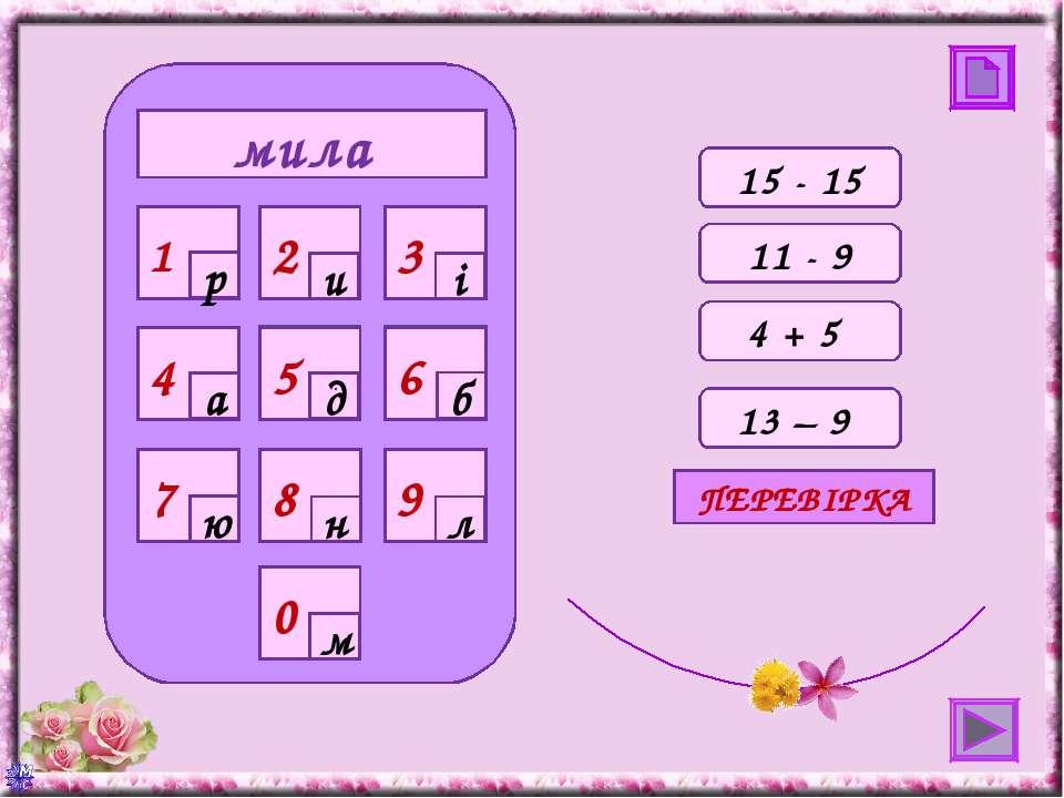 мила 0 4 7 8 9 1 2 3 5 6 р и і а д б ю н л м 15 - 15 11 - 9 4 + 5 13 – 9 ПЕРЕ...