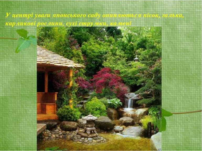 У центрі уваги японського саду опиняються пісок, галька, карликові рослини, с...