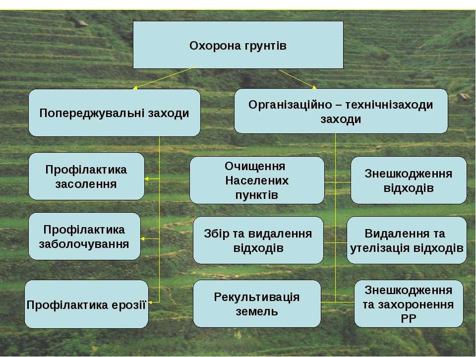 Охорона грунтів Профілактика заболочування Профілактика ерозії Рекультивація ...