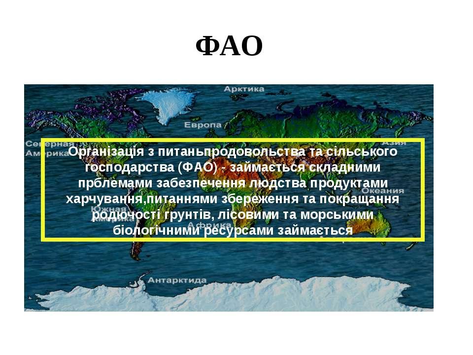 ФАО Організація з питаньпродовольства та сільського господарства (ФАО) - займ...