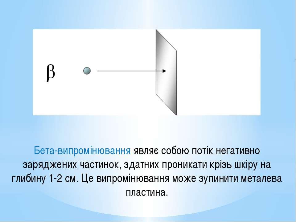 Бета-випромінювання являє собою потік негативно заряджених частинок, здатних ...