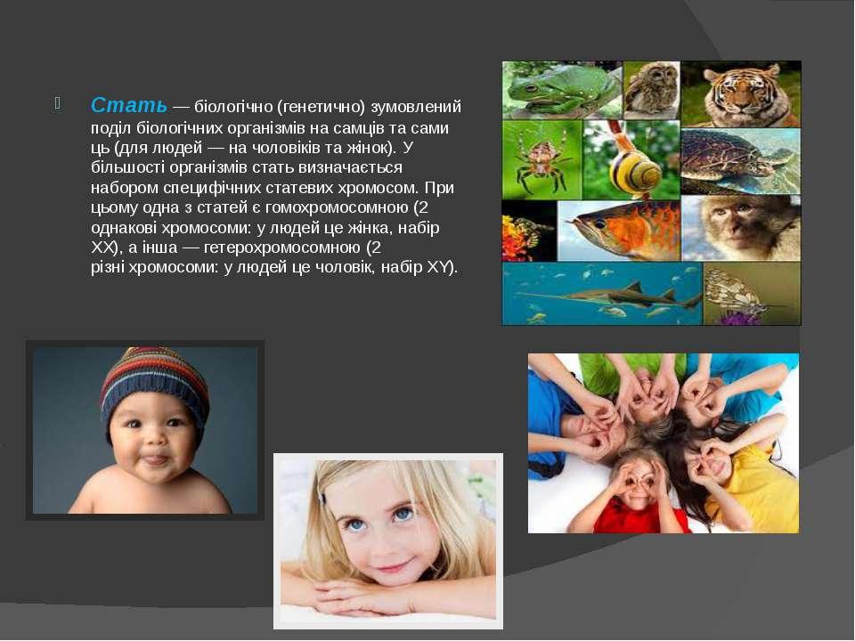 Стать—біологічно(генетично) зумовлений поділ біологічнихорганізмівнасам...