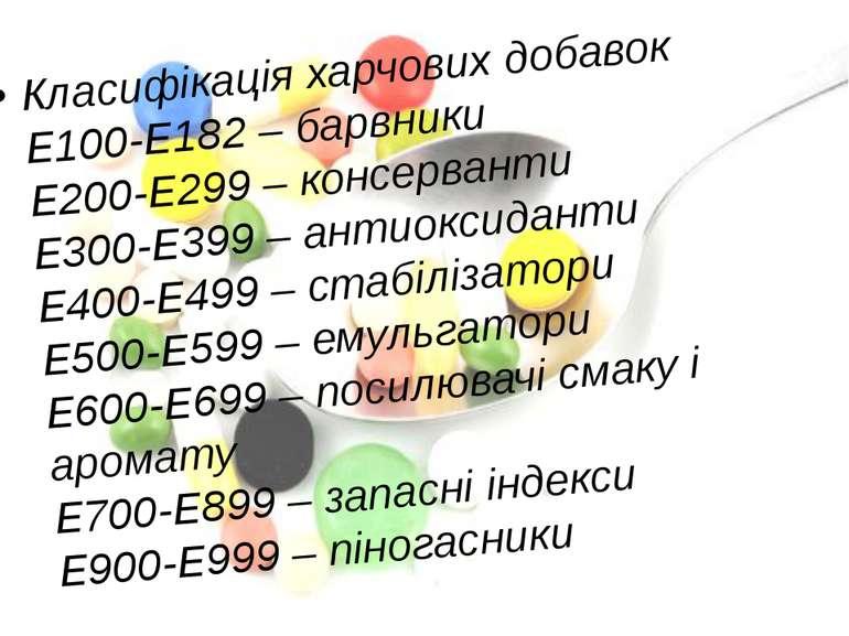 Класифікація харчових добавок Е100-Е182 – барвники Е200-Е299 – консерванти Е3...