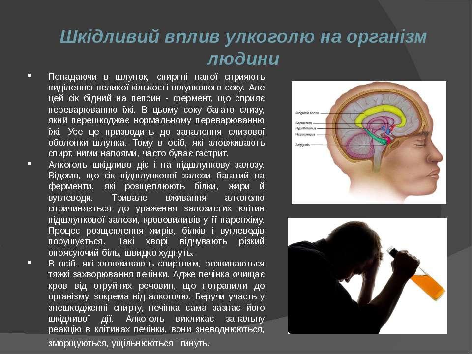 Шкідливий вплив улкоголю на організм людини Попадаючи в шлунок, спиртні напої...