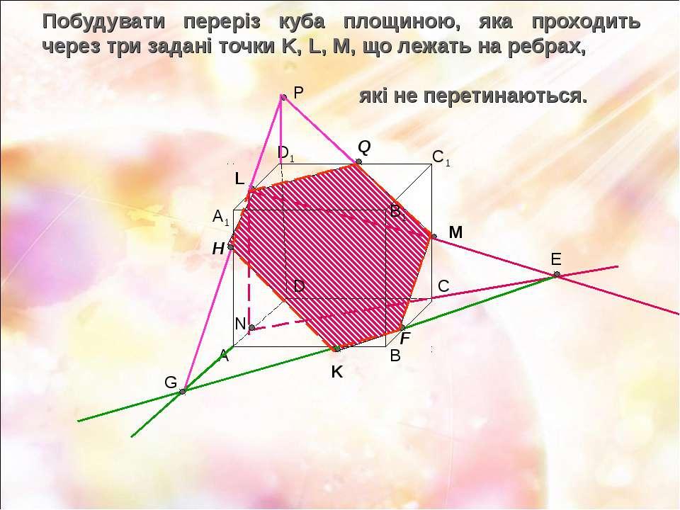 Побудувати переріз куба площиною, яка проходить через три задані точки K, L, ...