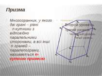 Призма Многогранник, у якого дві грані – рівні n-кутники з відповідно паралел...
