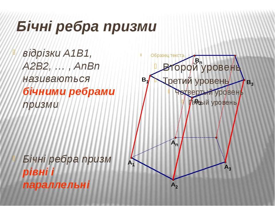 Бічні ребра призми відрізки A1B1, A2B2, … , AnBn називаються бічними ребрами ...