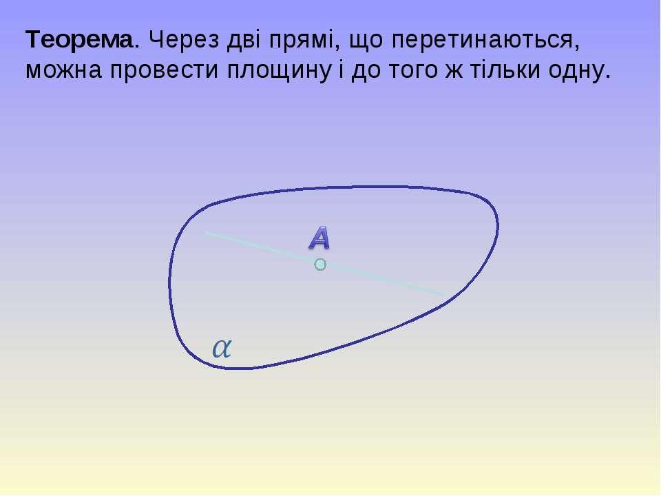 Теорема. Через дві прямі, що перетинаються, можна провести площину і до того ...