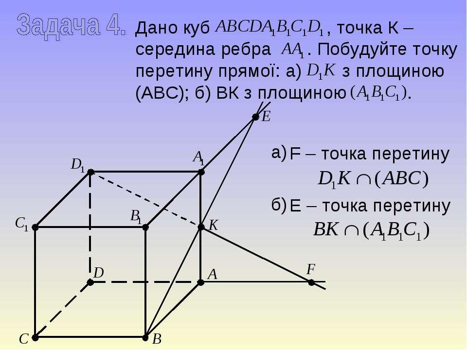 Дано куб , точка К – середина ребра . Побудуйте точку перетину прямої: а) з п...
