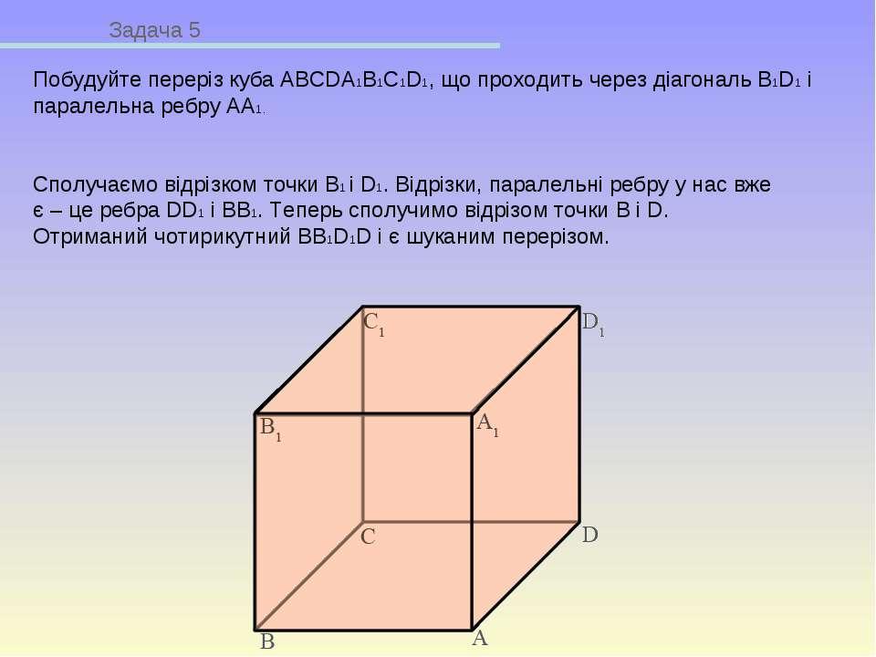 Задача 5 Побудуйте переріз куба ABCDA1B1C1D1, що проходить через діагональ B1...