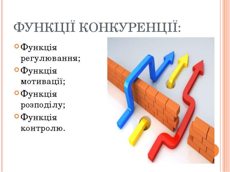 ФУНКЦІЇ КОНКУРЕНЦІЇ: Функція регулювання; Функція мотивації; Функція розподіл...