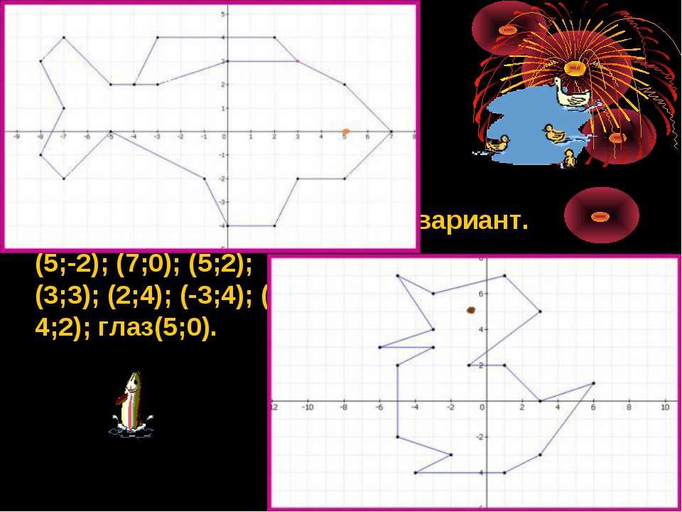 1 вариант. (3; 3); (0; 3); (-3; 2); (-5;2); (-7;4); (-8;3); (-7;1); (-8;-1); ...