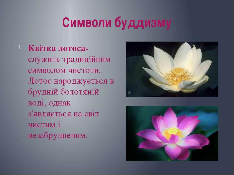 Символи буддизму Квітка лотоса-служить традиційним символом чистоти. Лотос на...