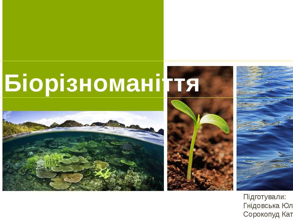 Біорізноманіття Підготували: Гнідовська Юлія , Сорокопуд Катерина