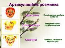 Артикуляційна розминка Гармошка Посміхнутися, зробити грибочок Втягувати чере...