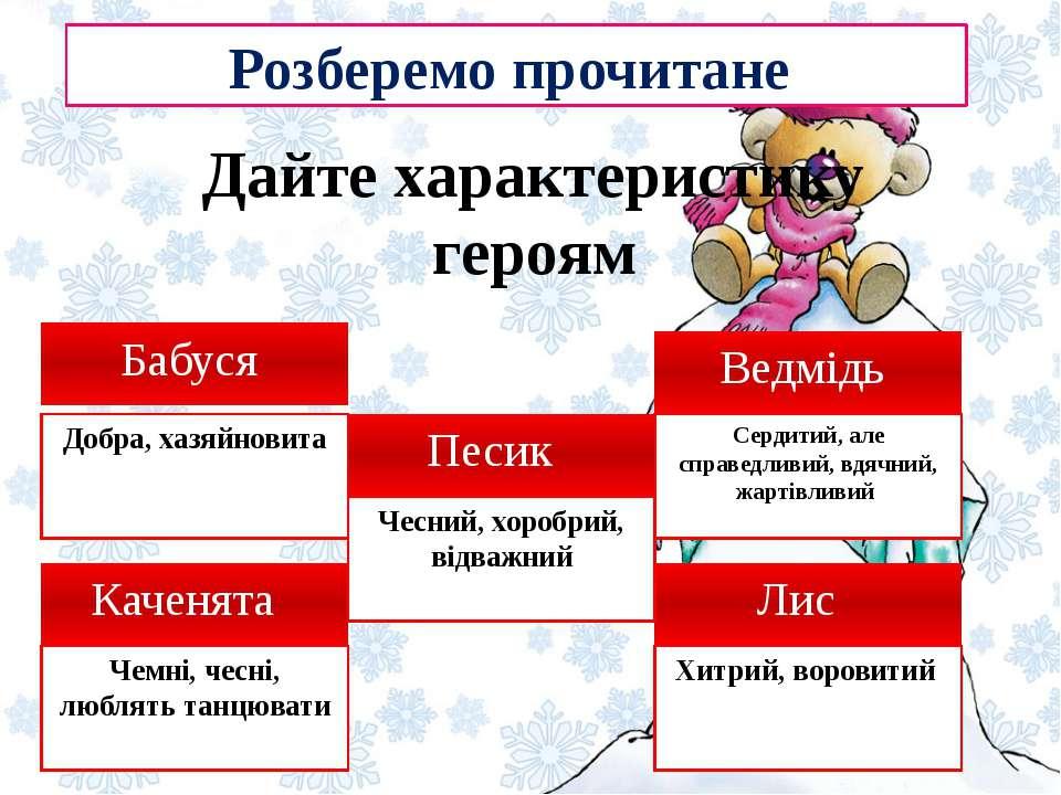 Дайте характеристику героям Бабуся Розберемо прочитане Лис Ведмідь Каченята Д...