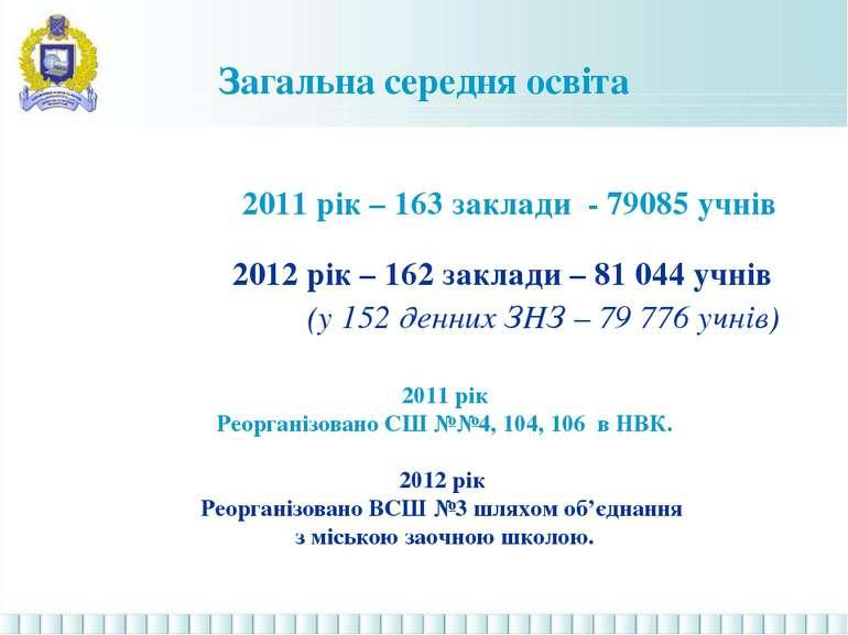 Загальна середня освіта 2011 рік – 163 заклади - 79085 учнів 2012 рік – 162 з...