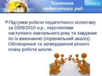 Тематика педагогічних рад Підсумки роботи педагогічного колективу за 2009/201...
