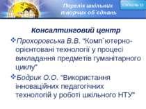 """Перелік шкільних творчих об`єднань Консалтинговий центр Прохоровська В.В. """"Ко..."""